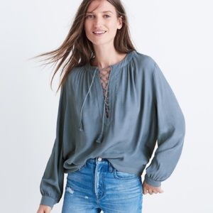 Madewell Lace Up Peasant Top